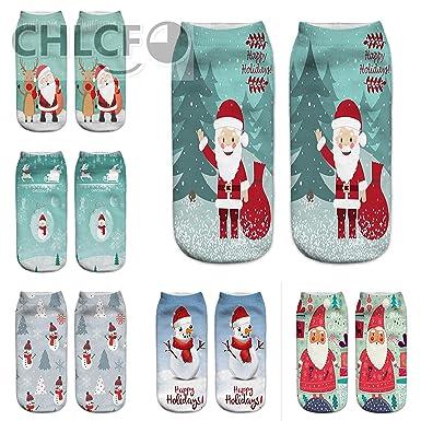 3D Christmas Socks Unisex Cartoon Elk Snowman Santa Socks Women Low Cut Ankle Christmas Socks Calcetines