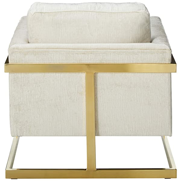 Coaster Home Furnishings 902785 Coaster Modern Ivory Fabric Upholstered Accent Chair with Floating Back, Brushed Brass