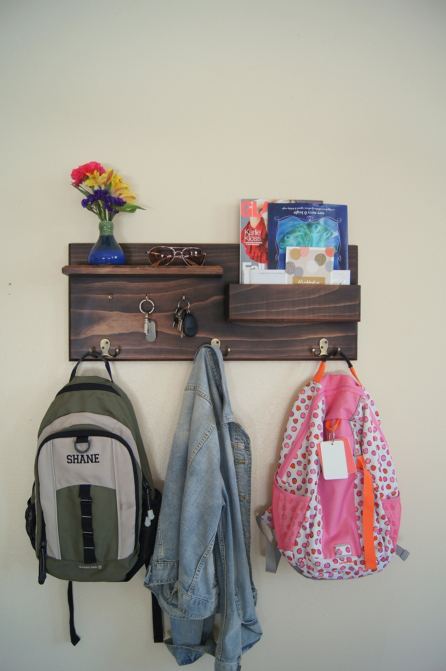 Coat Hooks and Key Hooks Mail Storage Floating Shelf Entryway Organizer Made in the USA by Midnight Woodworks