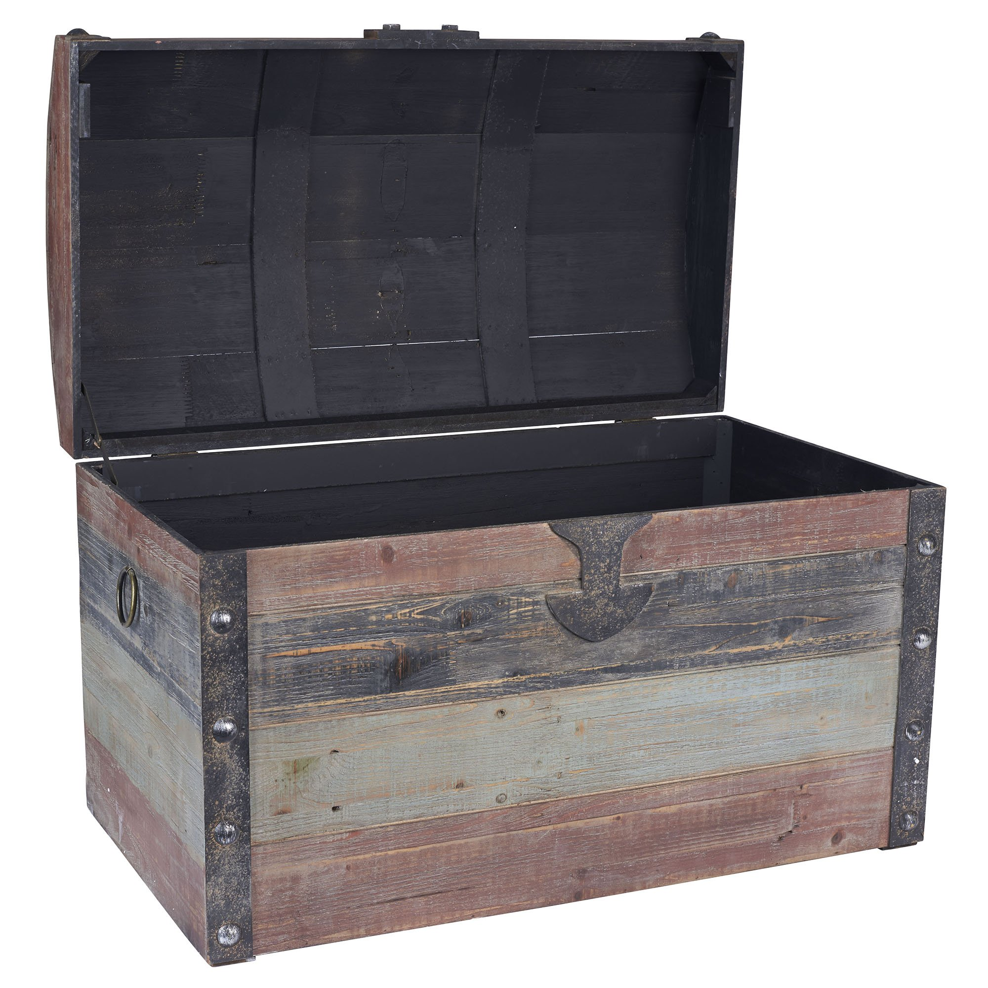Household Essentials Stripped Weathered Wooden Storage Trunk, Large by Household Essentials (Image #2)