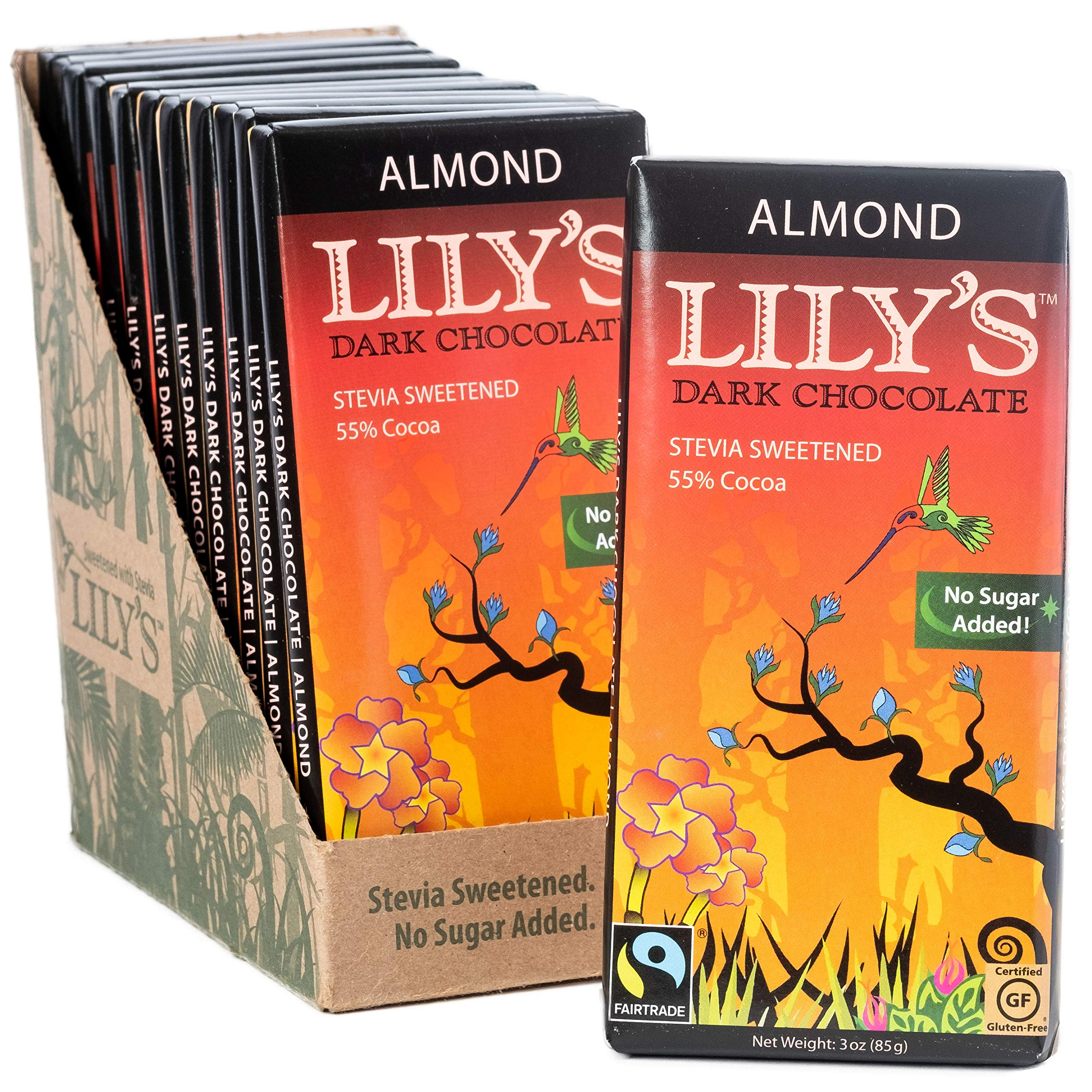 Almond Dark Chocolate Bar by Lily's Sweets | Stevia Sweetened, No Added Sugar, Low-Carb, Keto Friendly | 55% Cacao | Fair Trade, Gluten-Free & Non-GMO | 3 ounce, 12-Pack