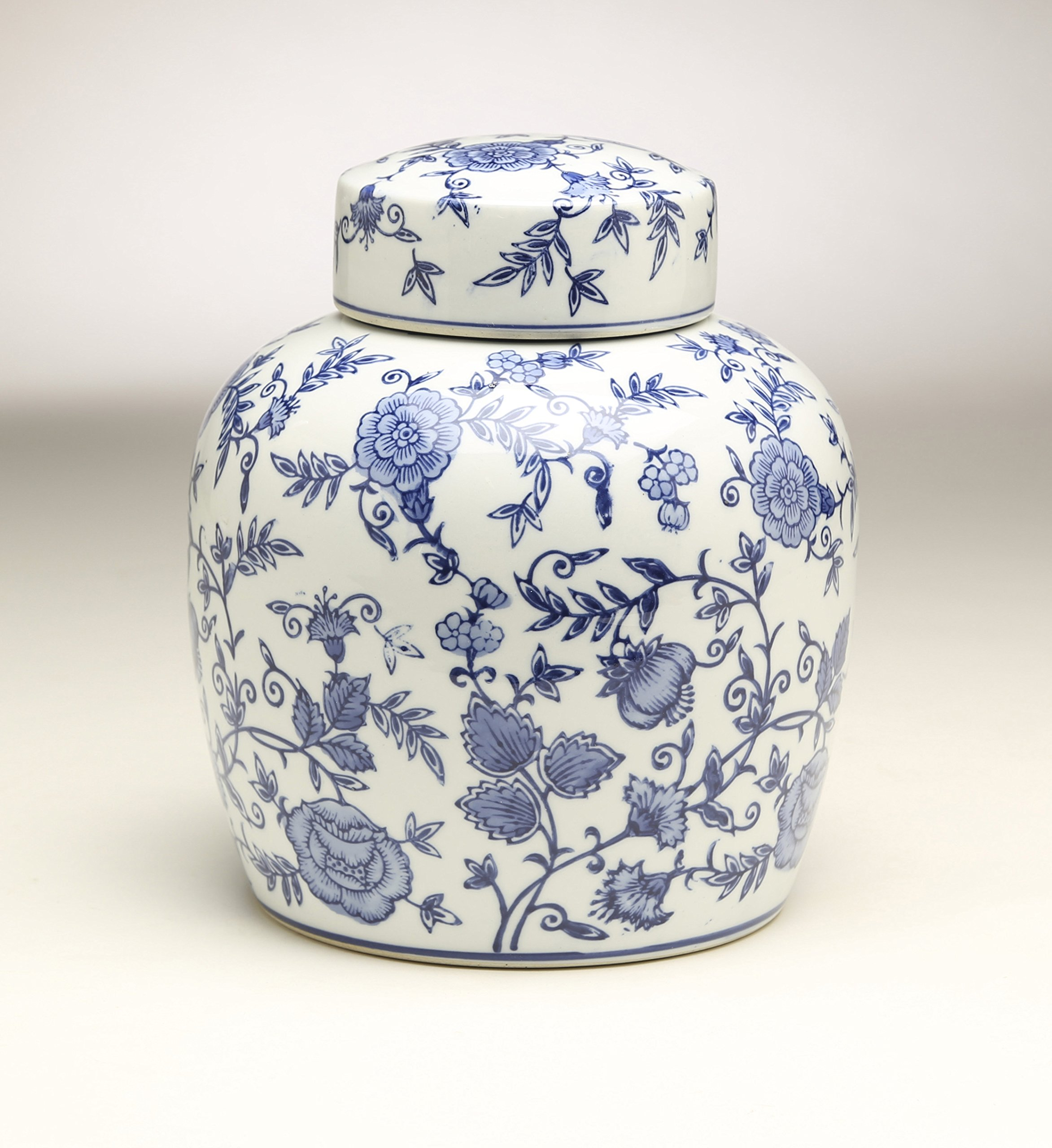 AA Importing 59953 9 Inch Blue & White Ginger Jar