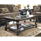 Ashley Furniture Signature Design - Norcastle Coffee Table - Cocktail Height - Rectangular - Dark Brown