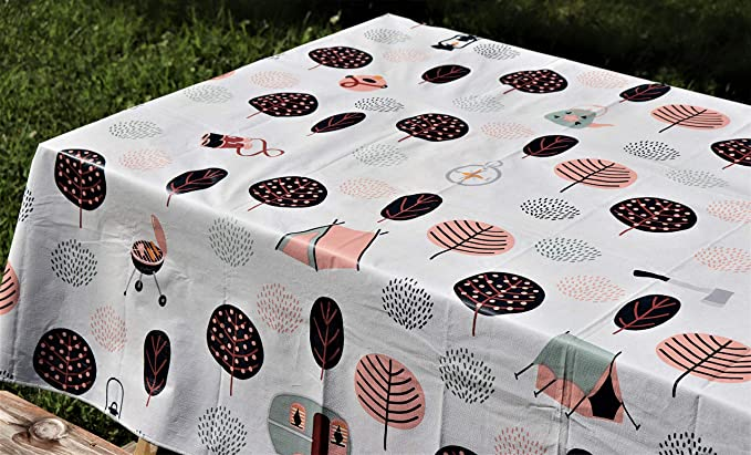 Butterfly /& Caged Birds Cream PVC Vinyl Tablecloth Dining Kitchen Table Protector Cover