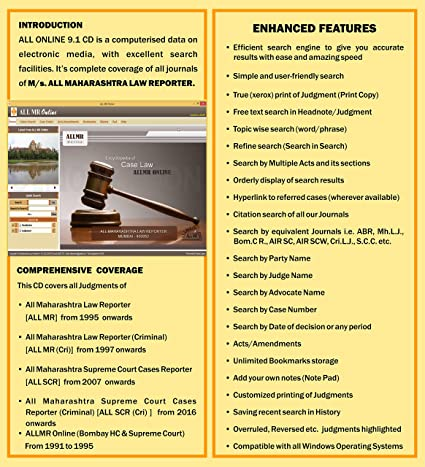 DVD and dongle for Judgments of Supreme Court and Bombay High Court & its  Benches - Aurangabad, Nagpur and Goa (Civil and Criminal) - 1950 To 2018