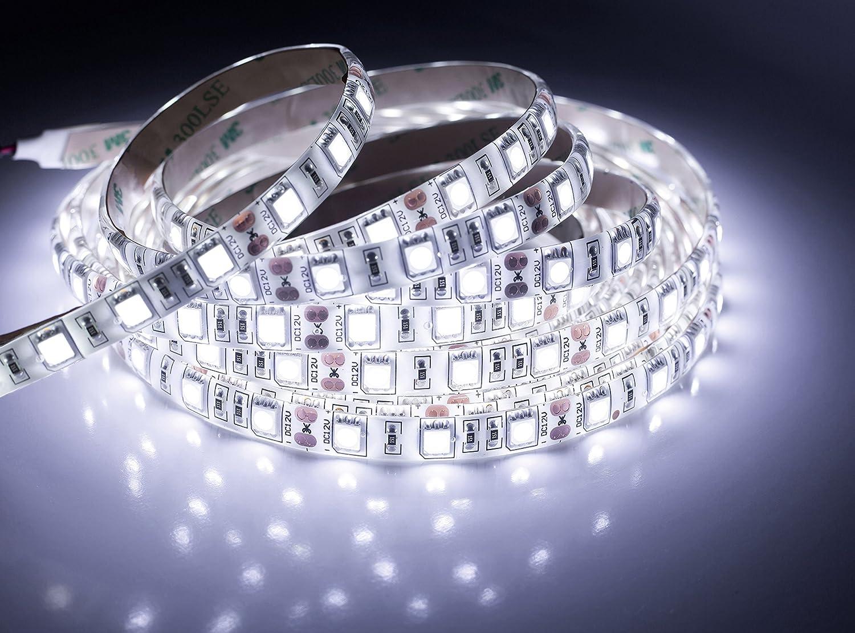 quntis® Agua Densidad LED Cinta 5M color blanco frío 5050SMD alta densidad 300LED Tiras Luz Cadena Botones + Fuente (12V 6A) con enchufe UE, IP 65 [Clase de eficiencia energética A+++]