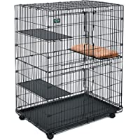Midwest Cat Playpen/Cat Cage Includes 3 Adjustable Resting Platforms, Removable Leak-Proof Pan, Easy 2-Door Top/Bottom Access & 4-Locking Wheel Casters