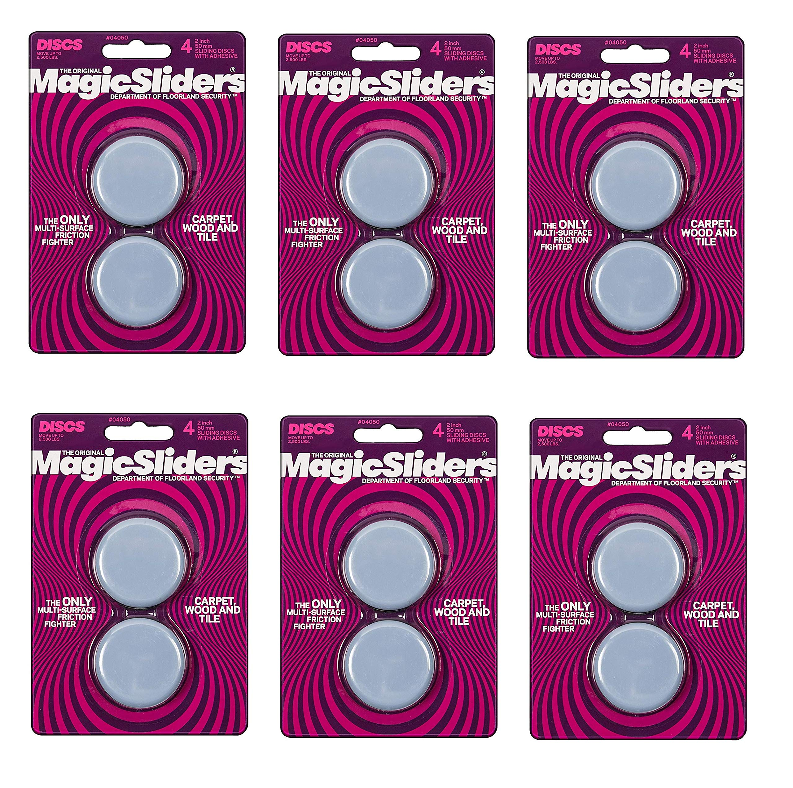 MAGIC SLIDERS L P 4050 2'' RND Sliding Disc, Sold as 6 Pack, 24 Count Total