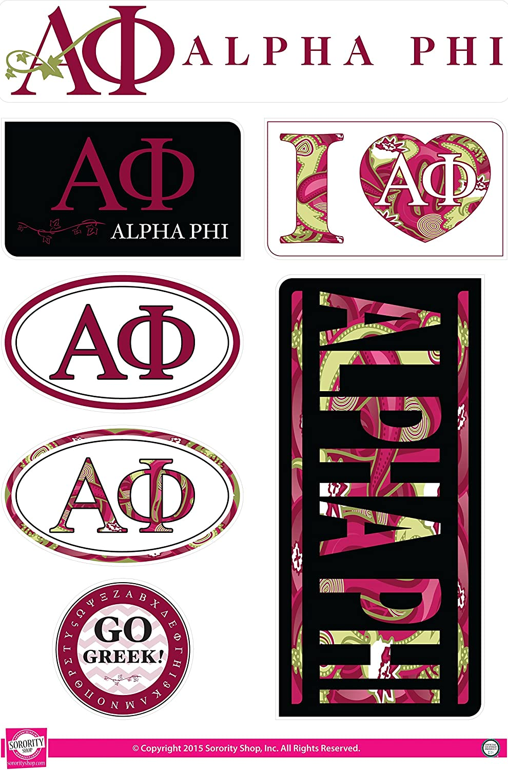 Retro Theme Sticker Sheet Alpha Phi