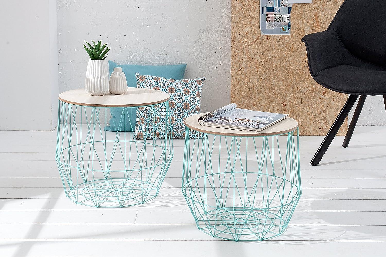 DuNord Design Beistelltisch Korb Metall rund 2er Set Couchtisch AREZZO mint Eiche Tisch Ablage