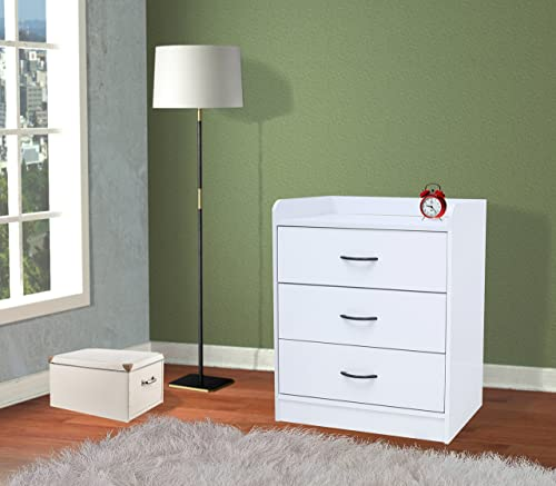 Kings Brand Furniture Jericho White Wood 3 Drawer Chest