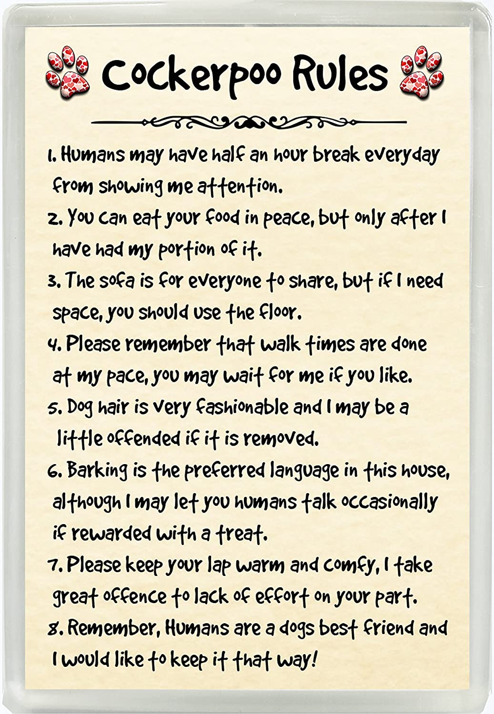 Cockerpoo Rules Humour Jumbo Fridge Magnet Ideal Dog Lover Birthday Gift M125 Lisa S For You