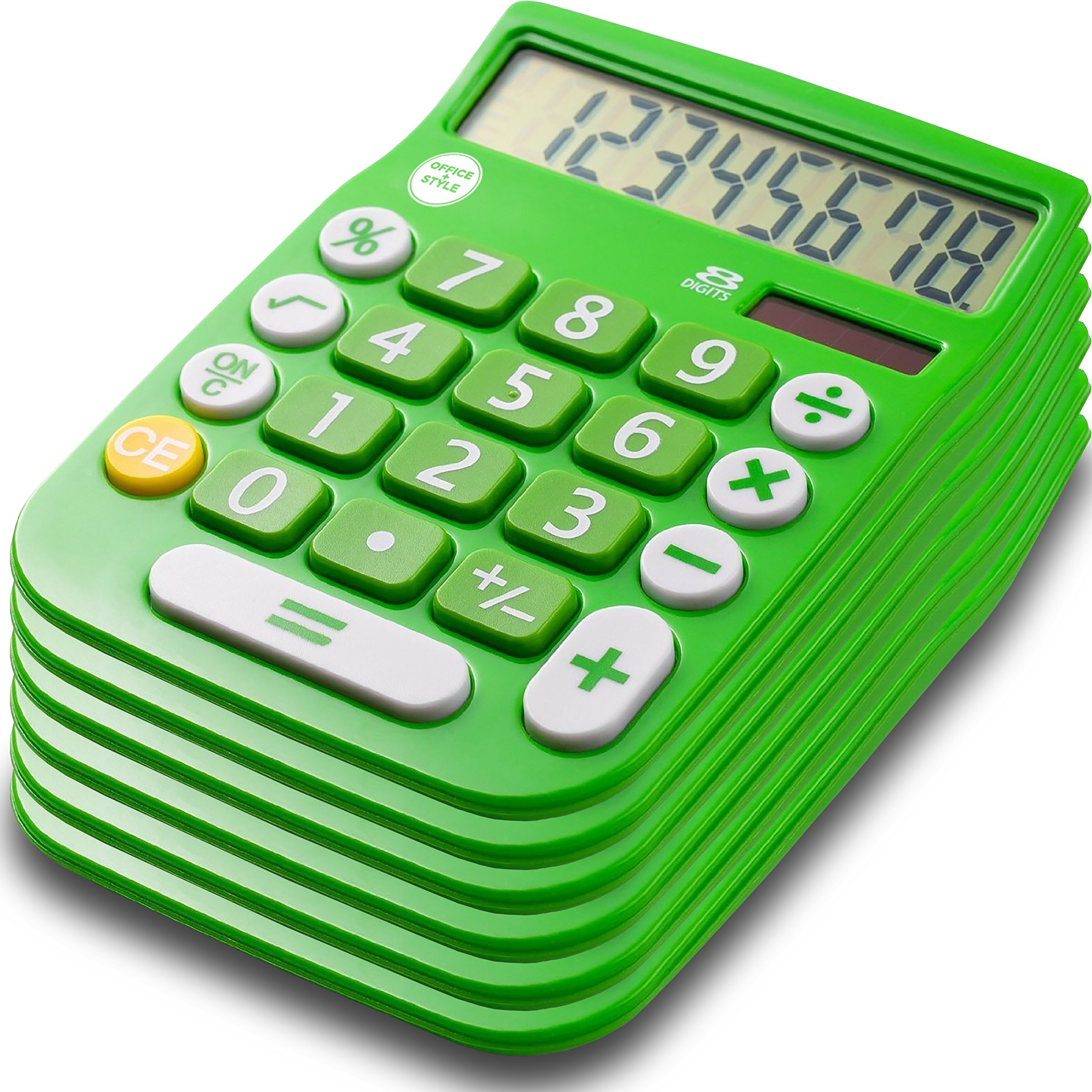 Office + Style 8 Digit Dual Powered Calculator with Large LCD Display, Green (Pack of 6) by Office + Style