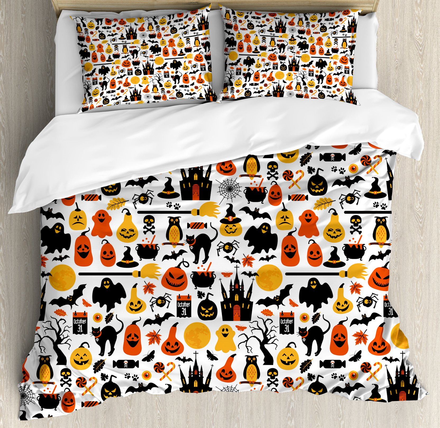 Ambesonne Halloween Duvet Cover Set King Size, Halloween Icons Collection Candies Owls Castles Ghosts October 31 Theme, Decorative 3 Piece Bedding Set with 2 Pillow Shams, Orange Yellow Black
