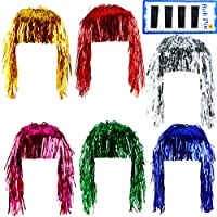 Keriber 6 Pieces Foil Tinsel Wigs Shiny Party Wig Metallic Wigs Costume Cosplay Party Supplies Fancy Dress