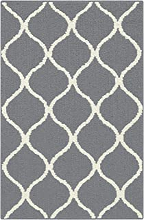 product image for Maples Rugs Rebecca Contemporary Kitchen Rugs Non Skid Accent Area Carpet [Made in USA], 2'6 x 3'10, Grey/White