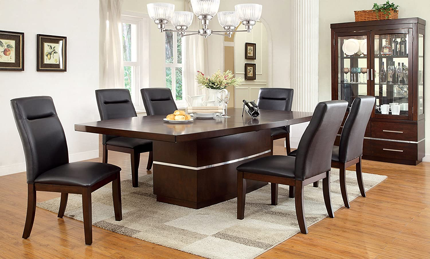 Furniture of America 7-Piece Dining Set, Brown