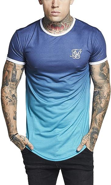 Camiseta Siksilk – S/s Contrast Poly Fade Gym Azul/Turquesa/Blanco Talla