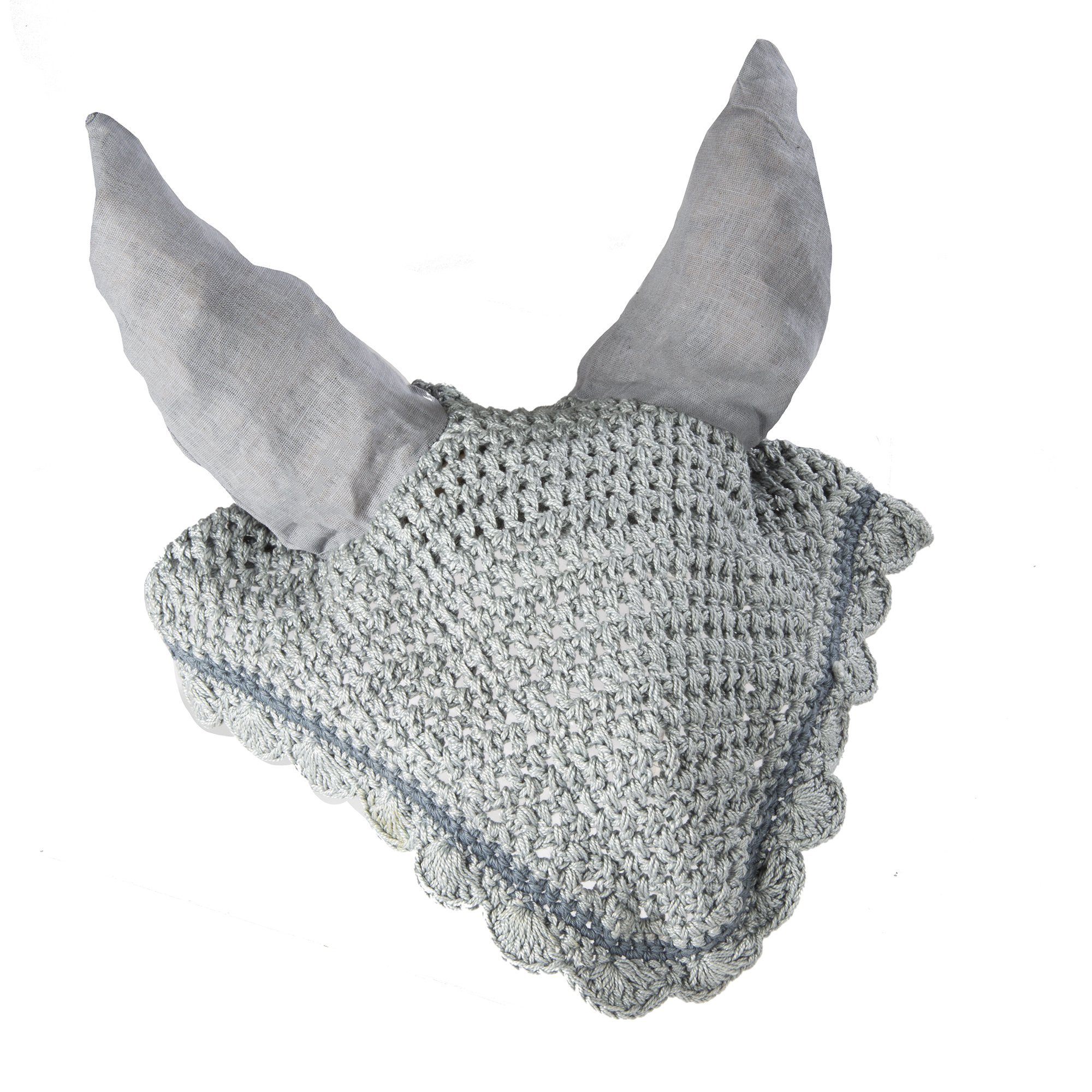 Intrepid International All Crochet Fly Veil with Ears, Grey/Silver, Horse Size