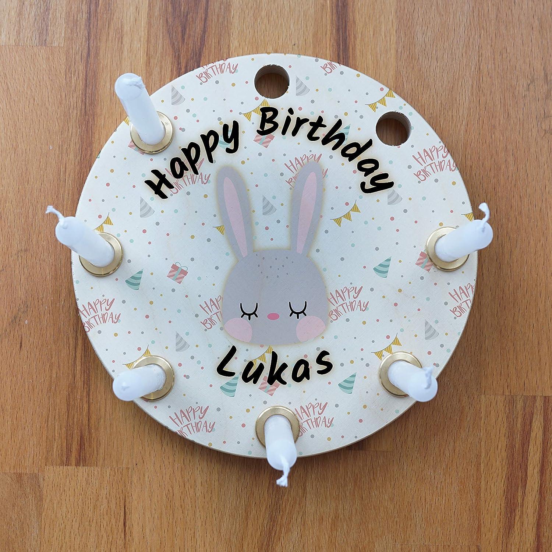 mit 8 L/öchern kompatibel zu Grimm Tischdekoration f/ür Kindergeburtstag Birke Geburtstagskranz aus Holz Geschenk zur Geburt Kerzenring