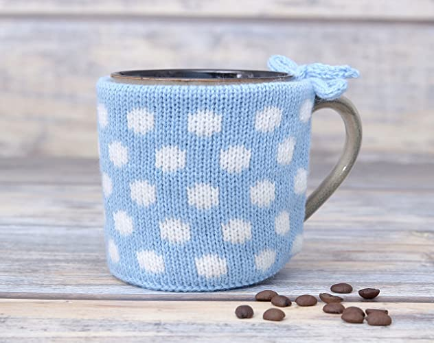 Amazon Light Blue Knitted Cozy Coffee Mug Warmer Teacup Sweater