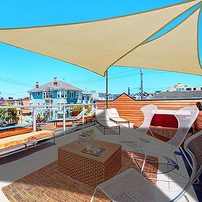 2X 16.5' Triangle Sun Shade Sail Patio Deck Beach Garden Yard Outdoor Canopy Cover UV Blocking (Desert Sand) : Garden & Outdoor