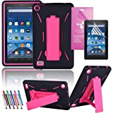 """Amazon Fire 7"""" 2015 Case, EpicGadget(TM) 5th Generation Fire 7 Heavy Duty Hybrid Case Full Protection Cover with Kickstand For Fire 7 inch Display + Screen Protector and 1 Stylus (US Seller)Black/Pink"""