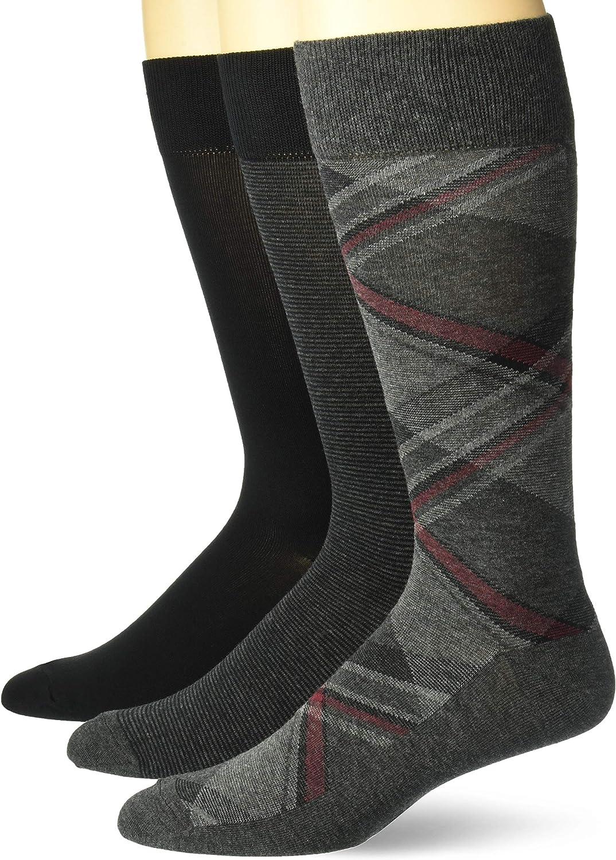 Amazon Brand - Buttoned Down Men's 3-Pack Pima Cotton Pattern Dress Socks