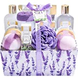 Spa Luxetique Lavender Bath Basket for Women, 12pc Spa Gift Set with Premium Cloth Box. Perfect Birthday & Anniversary Gift I
