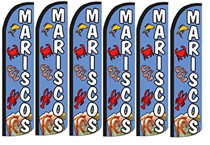 Seafood Mariscos King size Windless Pack  of 2 Flag HARDWARE NOT INCLUDED