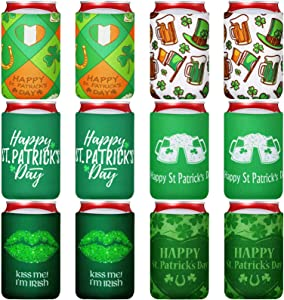 12 Pieces St. Patrick's Day Beer Can Cover Sleeves Reusable Neoprene Can Coolers for 12 oz Beer Can Beverages Bottle Drink Decorations