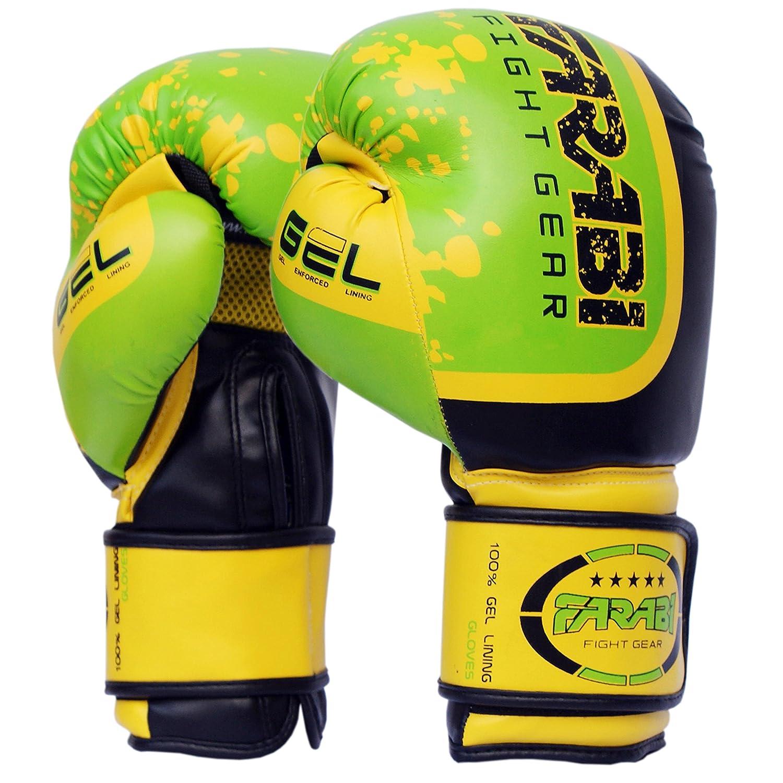 ボクシンググローブスパーリンググローブMMAムエタイPunching BagトレーニングMitts withジェル保護by Farabi グリーン 12Oz