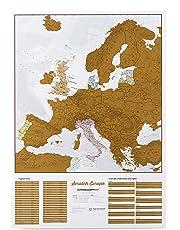 Rubbeln Sie Europa Karte – Rubbeln Sie Orte, die Sie bereisen! - Kartografische Details - 59,4cm (B) x 84,1 cm (H)