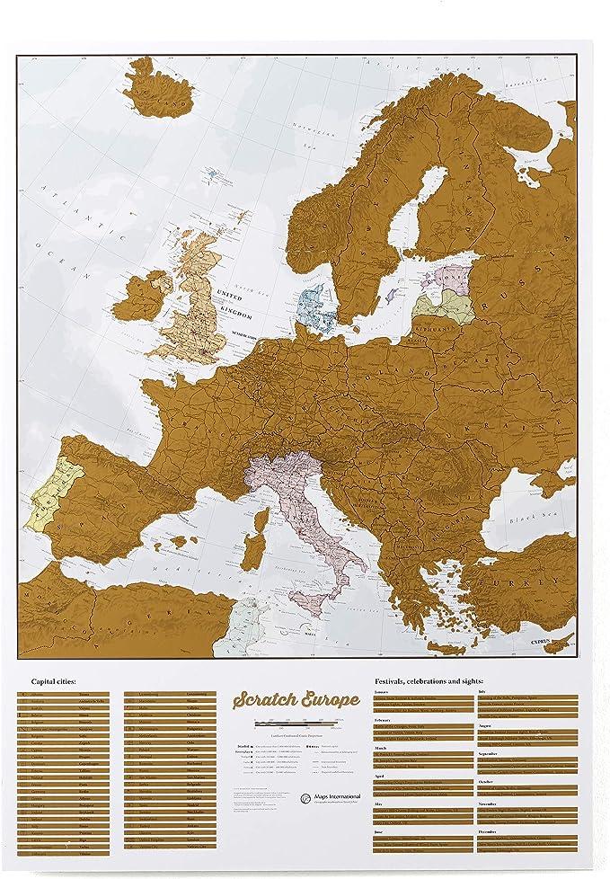 Maps International - Mapa rascable, edición europea, cartografía detallada al máximo - 59 x 84 cm: Amazon.es: Oficina y papelería