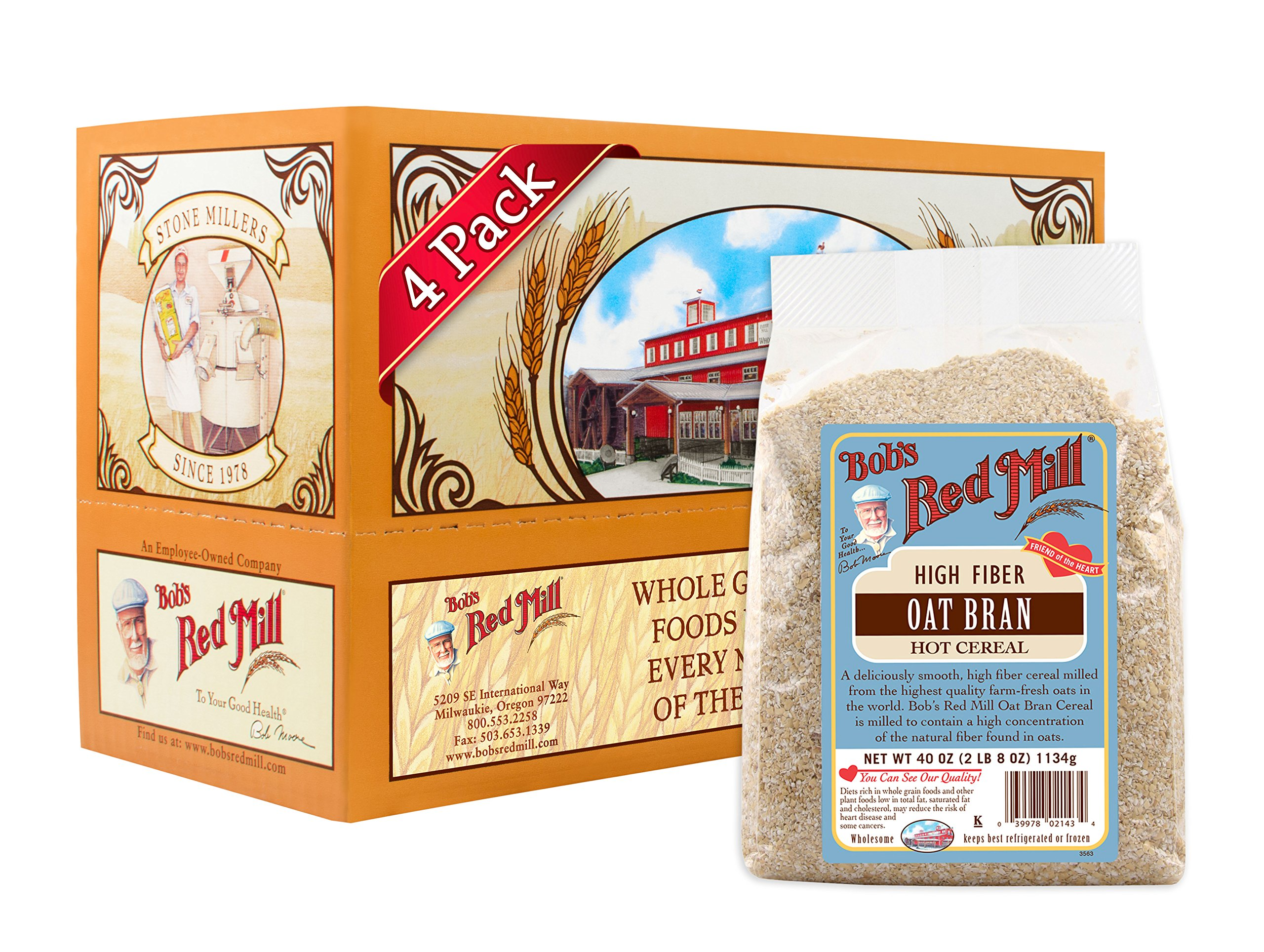 Bob's Red Mill Oat Bran Hot Cereal, 40 Ounce (Pack of 4)
