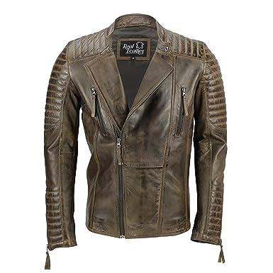 Mens Real Leather Biker Jacket Retro Brown Vintage Slim Fit Smart Casual Zip Coat [Nevada