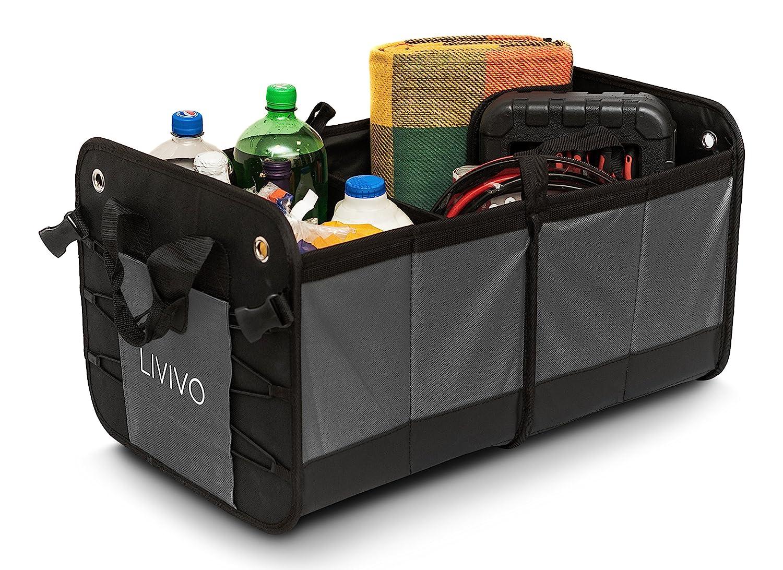 Livivo® Kofferraum-Organizer, faltbar -großer, Schwerlast-Organizer mit 2 Fächern, zusammenklappbar, für ordentliche Aufbewahrung im Auto, rutschfeste Unterseite, mit Seitentaschen und Tragegriffen