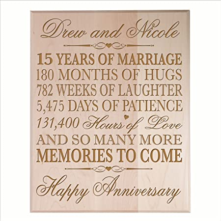 Personalized 15th Wedding Anniversary Gift For Couple Custom 15th Anniversary Gifts For Her 15th Wedding Anniversary Gifts For Him By Dayspring Milestones Maple Solid Wood Amazon Co Uk Kitchen Home