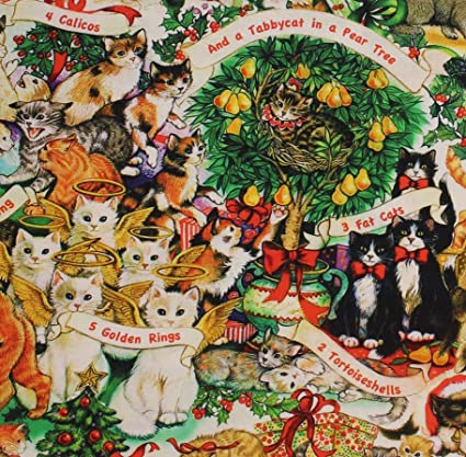 cat fabric the joys of christmas 12 days of christmas cats 100