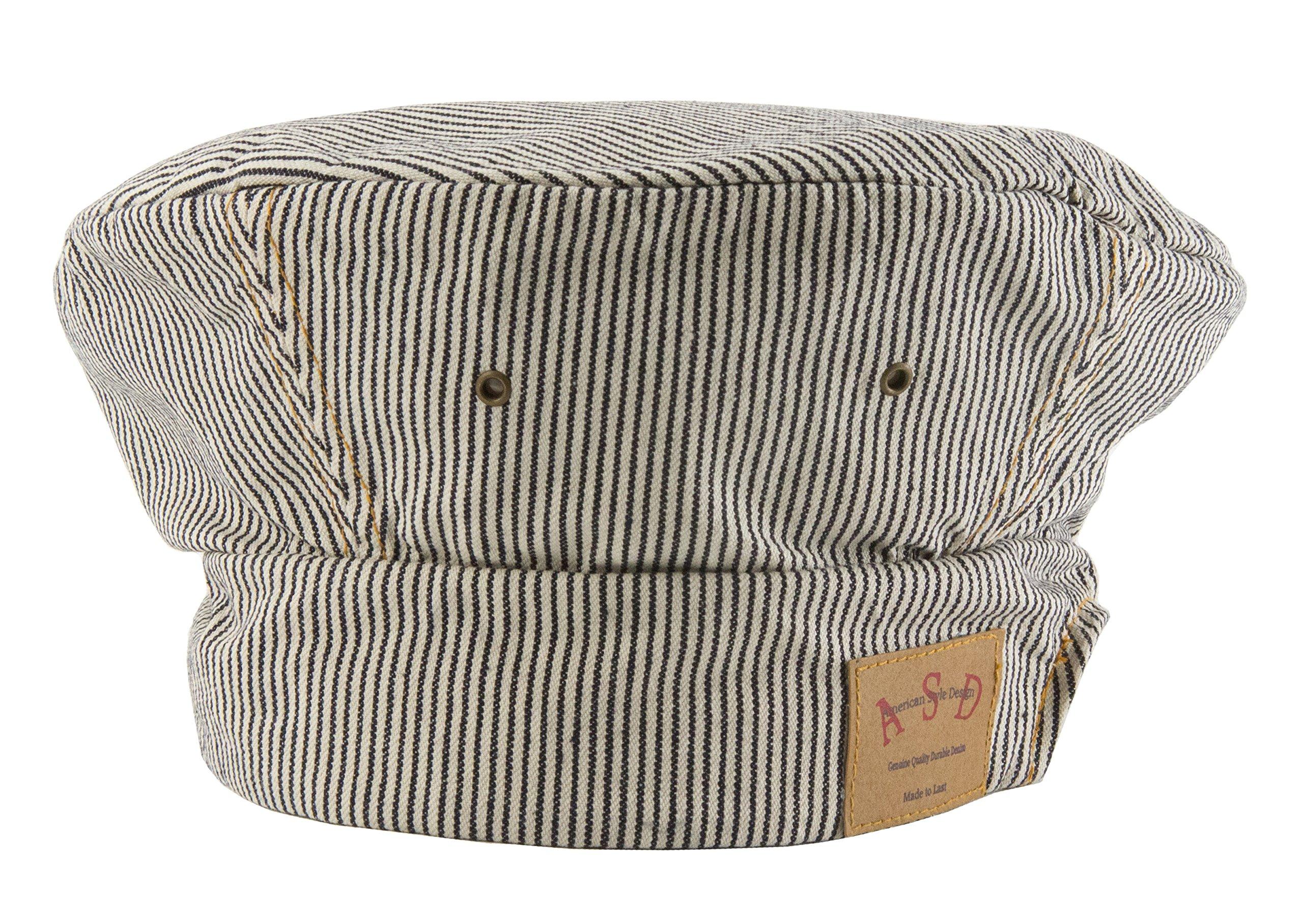 ASD Living Railroad Stripe Denim Adjustable Chef's Hat, 8 Inch , Blue/White/Stripe