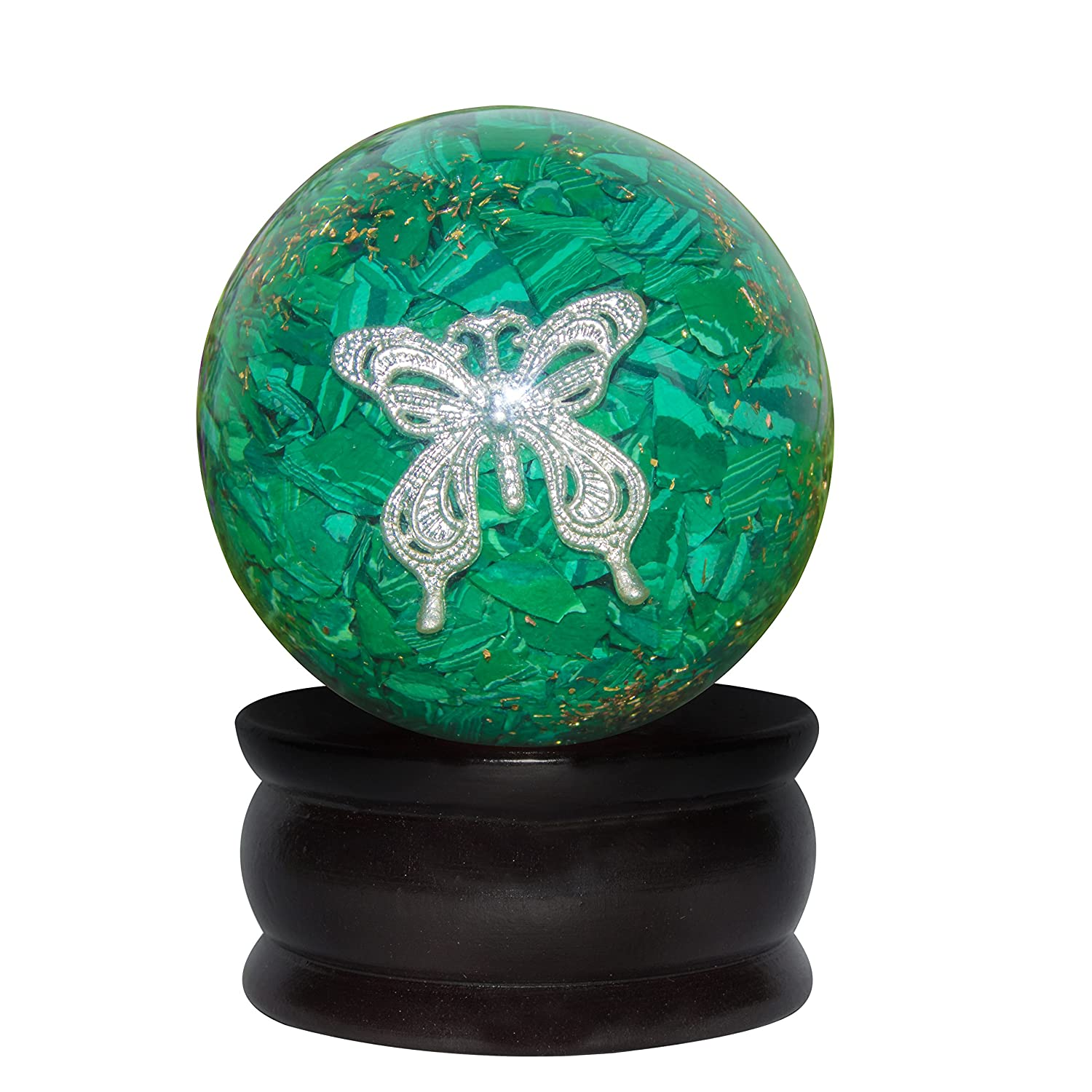 CROCON Green Malachite Orgone Sphere Ball Butterfly Symbol Energy Generator For Reiki Healing Chakra Balancing & EMF Protection Size: 50-55mm