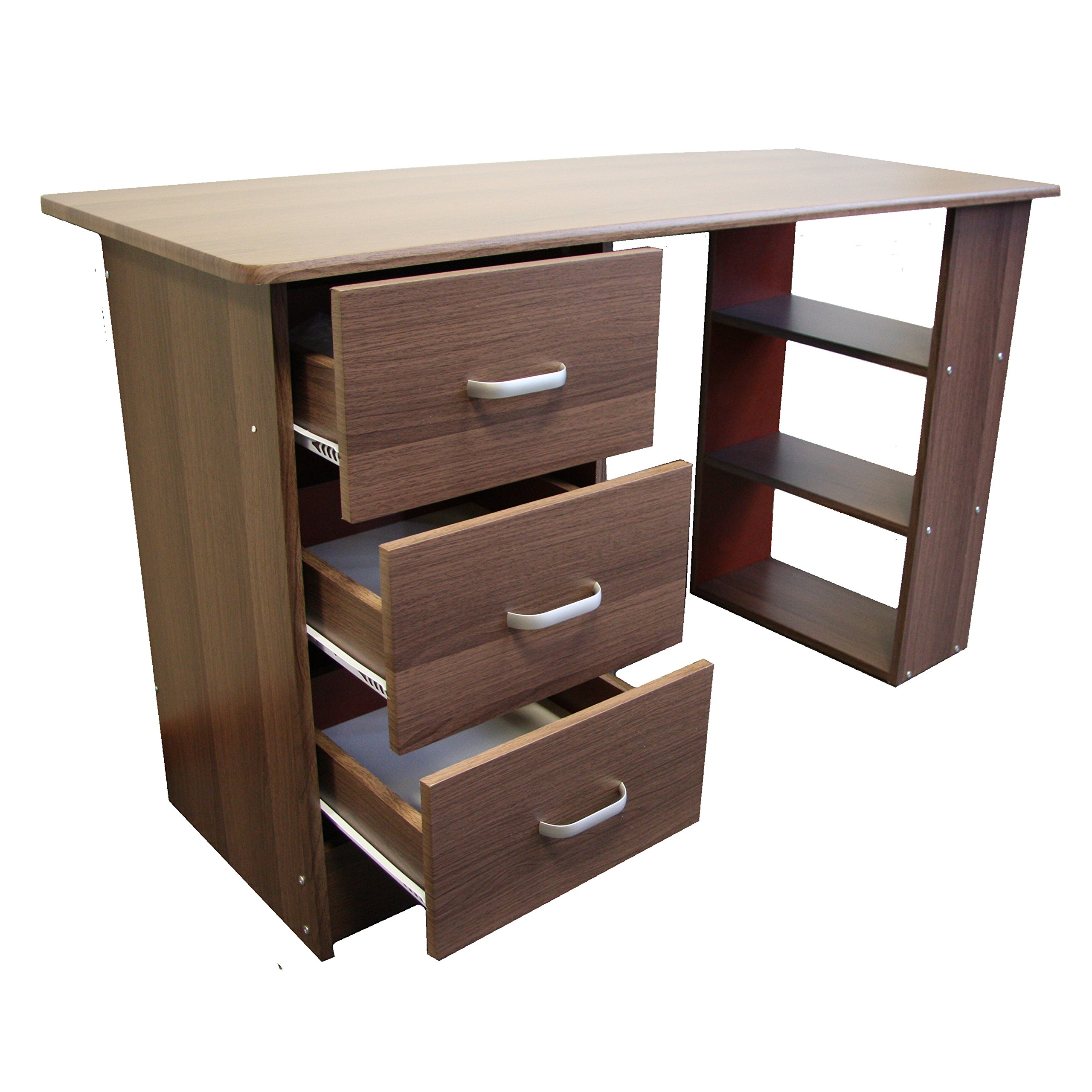 office table with drawers. Redstone Dark Walnut Computer Desk - 3 Drawers + Shelves Home Office Table Workstation With