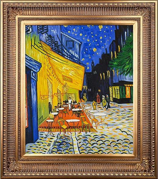 La Diseno De Terraza De Cafe Por La Noche Metalico Adornado Ilustraciones Por Vincent Van Gogh Con Regal Marco De Oro Amazon Com Mx Hogar Y Cocina