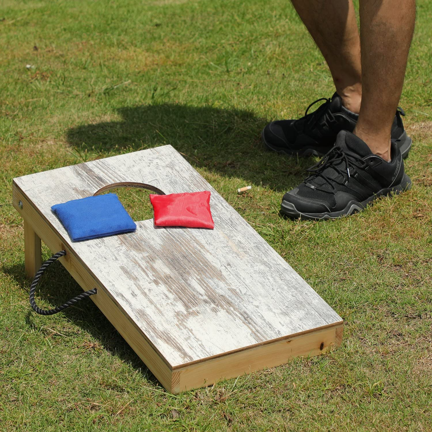 Includes Set of 8 Corn Hole Toss Bags 1x 2 Corn Hole Game Boards Whited Wood Printed OOFIT Solid Wood Premium Cornhole Set