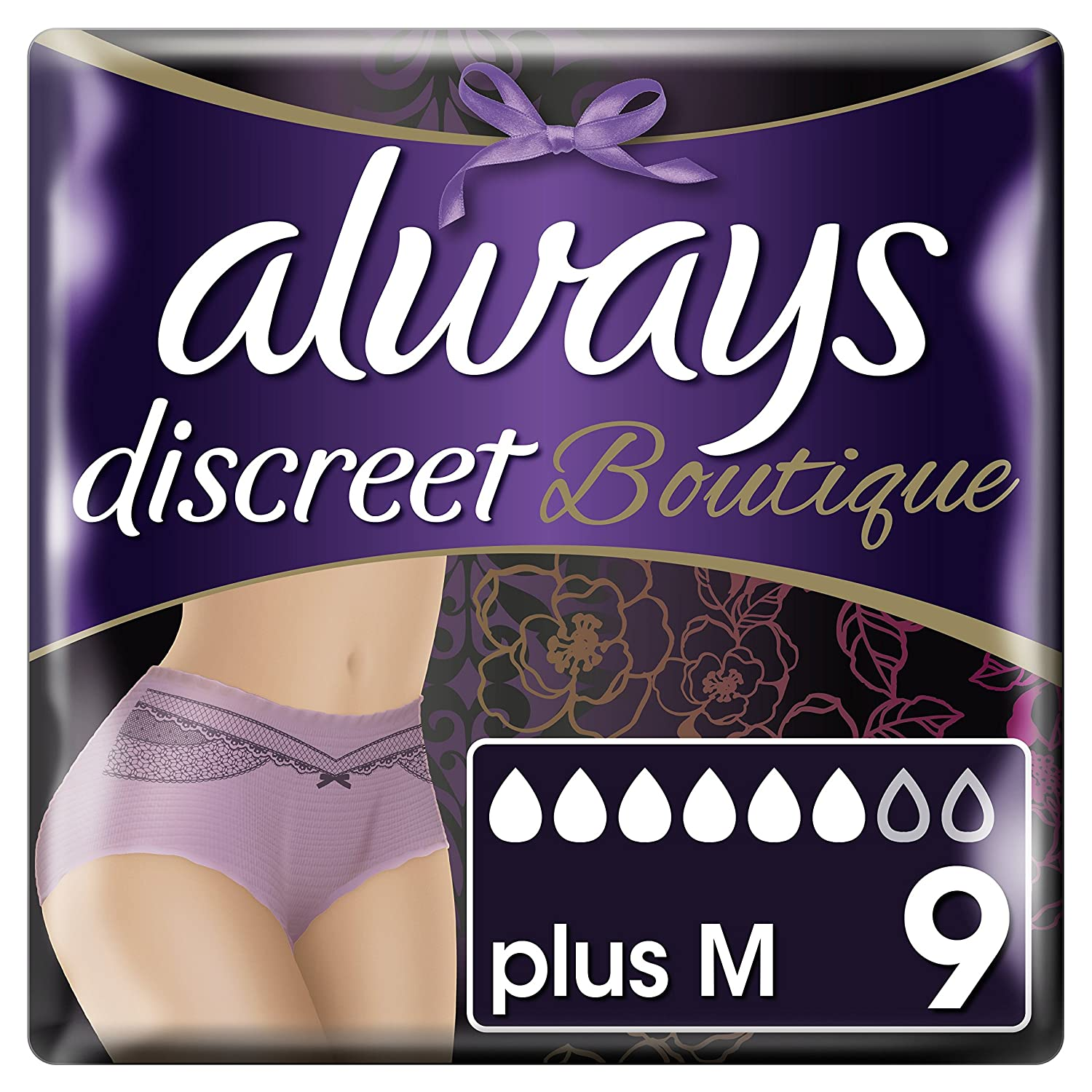 Always Discreet Boutique, Incontinence Pants size M, for Women with sensitive bladder, Peach color, 6 drops absorbency - Super saving box - 2 Packs of 9 count (Total 18 count) Procter & Gamble 83735046
