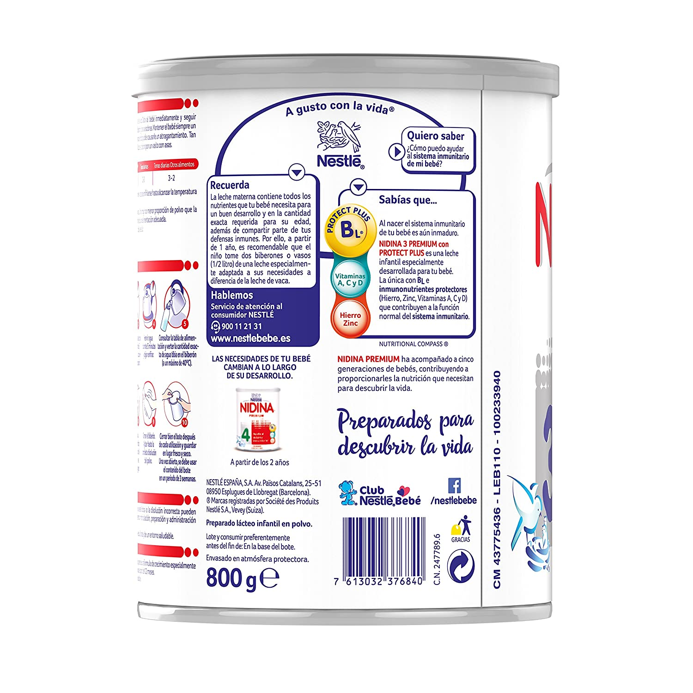 Amazon.com : Nestle Nidina 3 Premium. Leche De Continuación. : Grocery & Gourmet Food