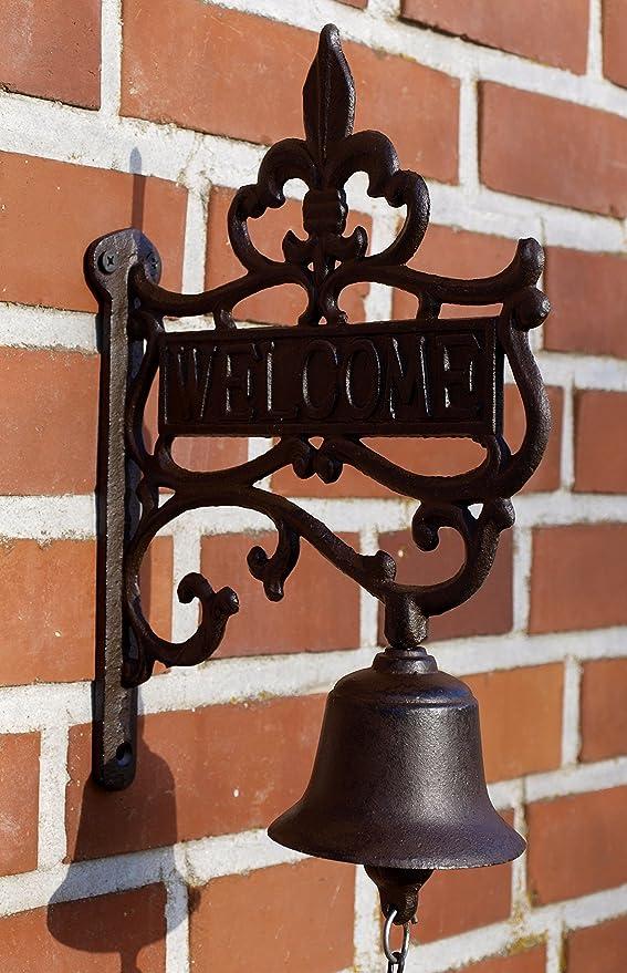 """Gusseisen Glocke Wandglocke Türglocke /""""Welcome/"""" braun im Landhausstil Nostalgie"""