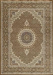 Vimoda tibet0146 - Alfombra clásica, firmemente Tejida, patrón Oriental de círculos, marrón, 120 x 170 cm