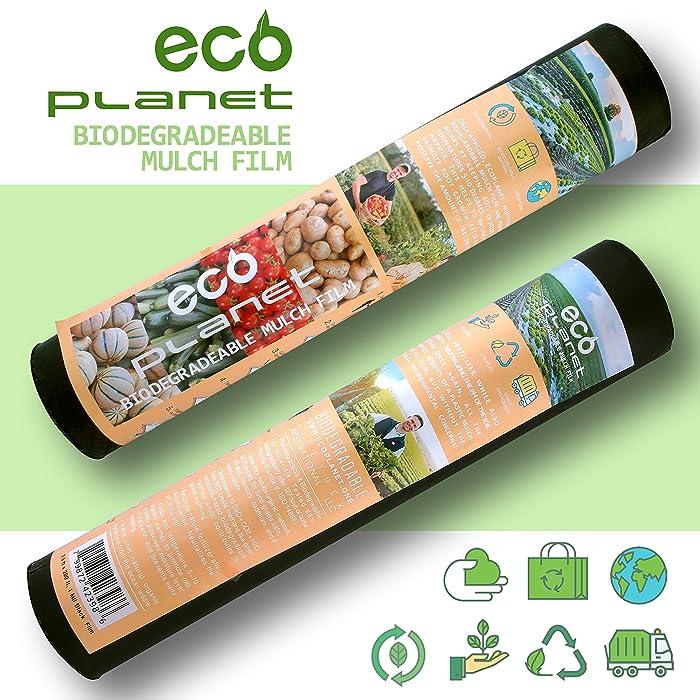 EcoPlanet Bio-degradable Agricultural Plasticulture Black Plastic Mulch Film Gardening Farming Film Weed Barrier (Type A) (1 Mil, 2.7 feet x 200 feet)