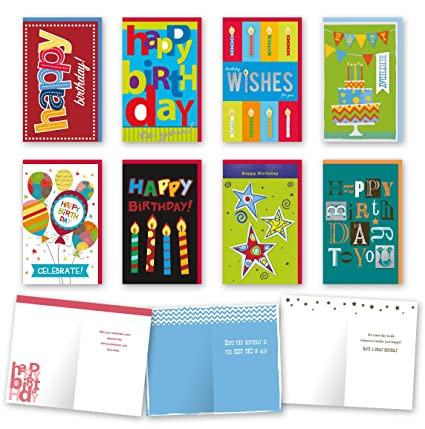 Amazon Assorted General Birthday Cards Bulk Card Set Of 8 With Envelopes Large Handmade 5 X Foil Glitter Finishes Office